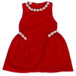 Váy dạ sát nách đính hạt ngọc trai HTKids