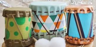 Bộ trống đồ chơi làm từ vỏ lon sữa bột cho bé