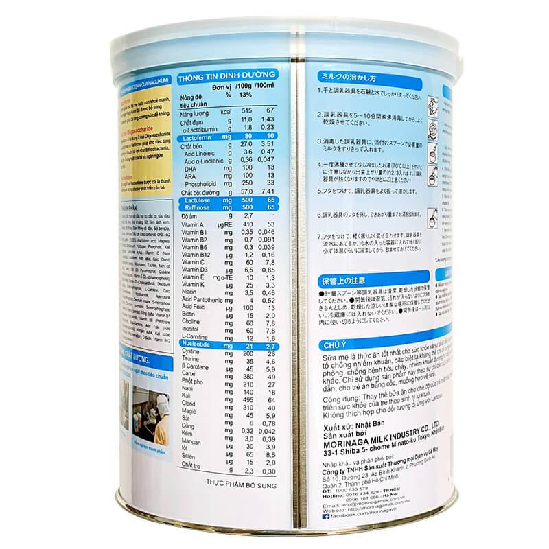 Thành phần dinh dưỡng có trong sữa bột Morinaga Hagukumi số 1