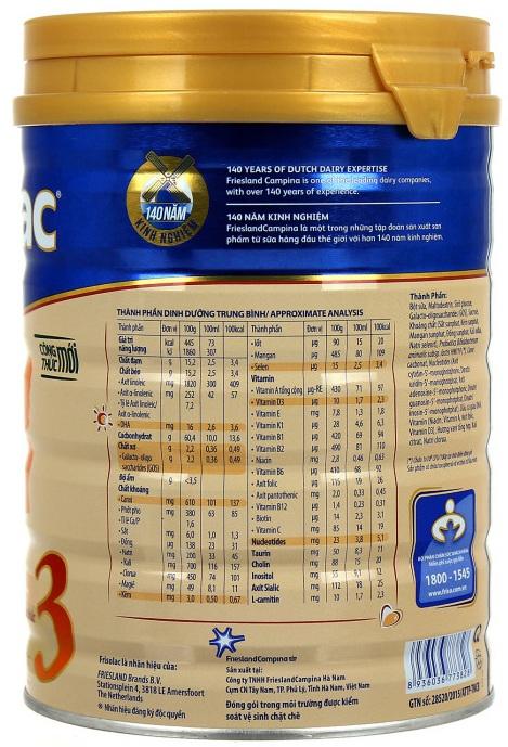 Thành phần dinh dưỡng có trong sữa bột Frisolac Gold