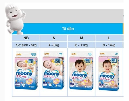 Hướng dẫn chọn size tã dán Moony cho bé