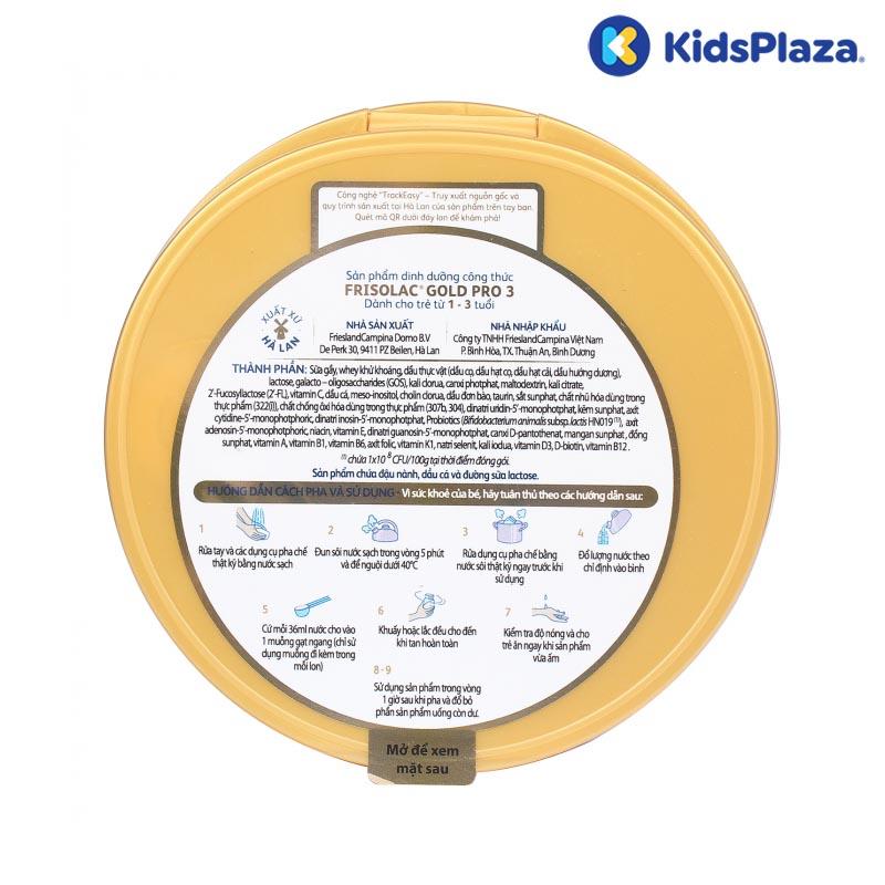 Cách pha sữa Frisolac Gold Pro 3 800g cho bé 1-3-tuổi