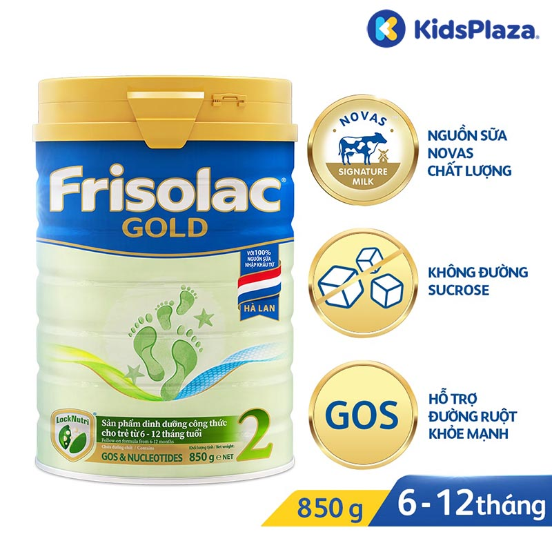 Sữa bột Frisolac Gold 2 850g cho bé 0-12 tháng