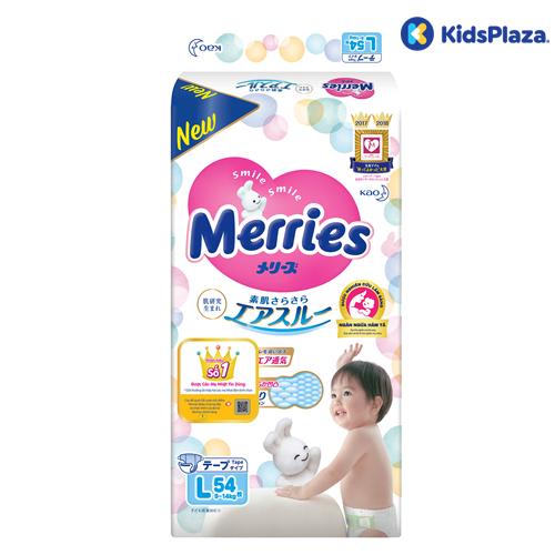 Bỉm- tã dán Merries size L 54 miếng