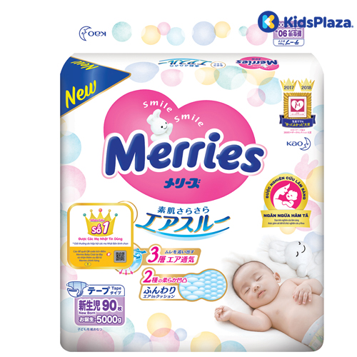 Bỉm Merries Nhật newborn 90 miếng