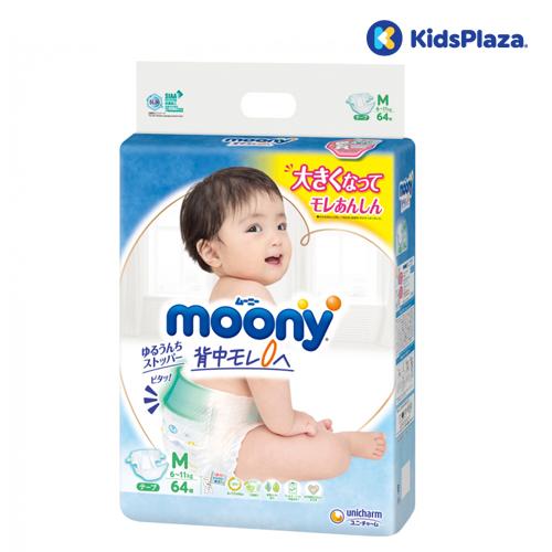 Bỉm Moony dán size M 64 miếng cho bé 6-11kg