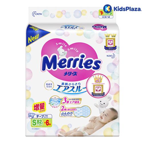 Bỉm - tã dán Merries size S cộng miếng