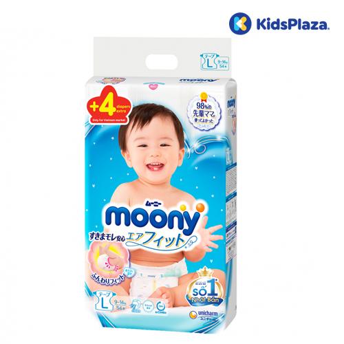 Bỉm tã dán Moony cộng miếng size L cộng miếng cho bé 9-14kg