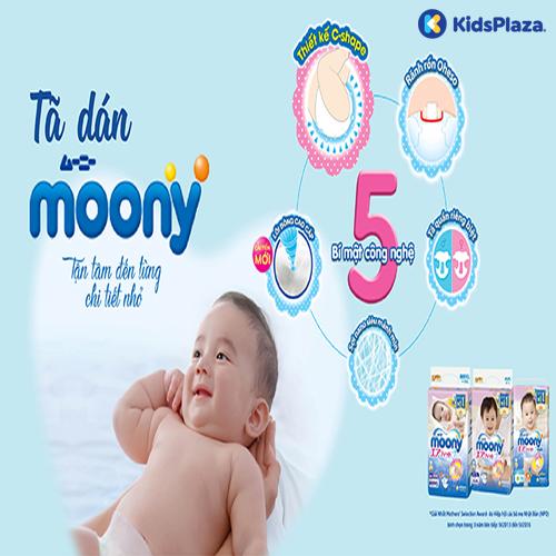 Bỉm tã dán Moony cộng miếng size newborn