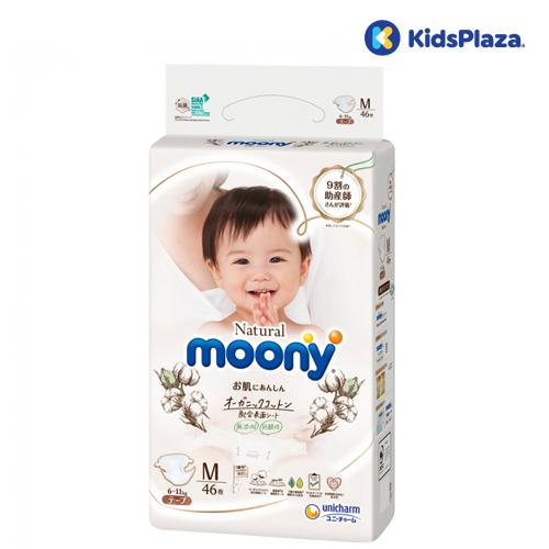 Bỉm - Tã dán Moony Natural size M 46 miếng cho bé 6-11kg