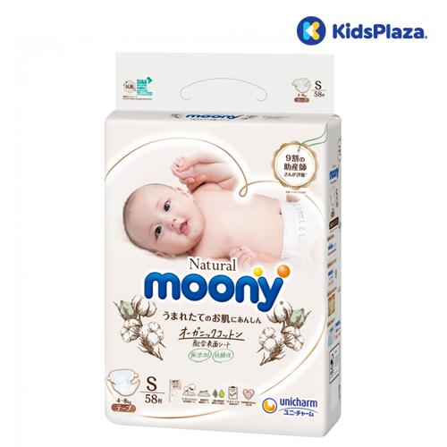 Bỉm tã dán Moony Natural size S 58 miếng cho bé 4-8kg