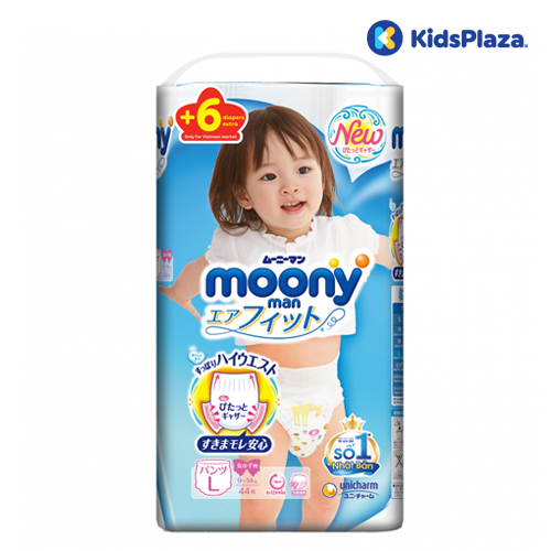 Bỉm tã quần Moony cộng miếng size L cho bé gái 9-14kg