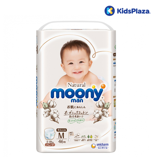 Bỉm tã quần Moony Natural size M 46 miếng cho bé 5-10kg