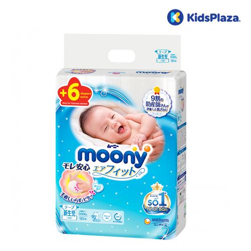 Bỉm tã dán Moony cộng miếng size newborn cho bé dưới 5kg