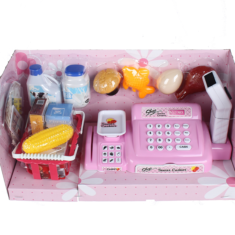Đồ chơi máy tính tiền siêu thị màu hồng cho bé CY.888