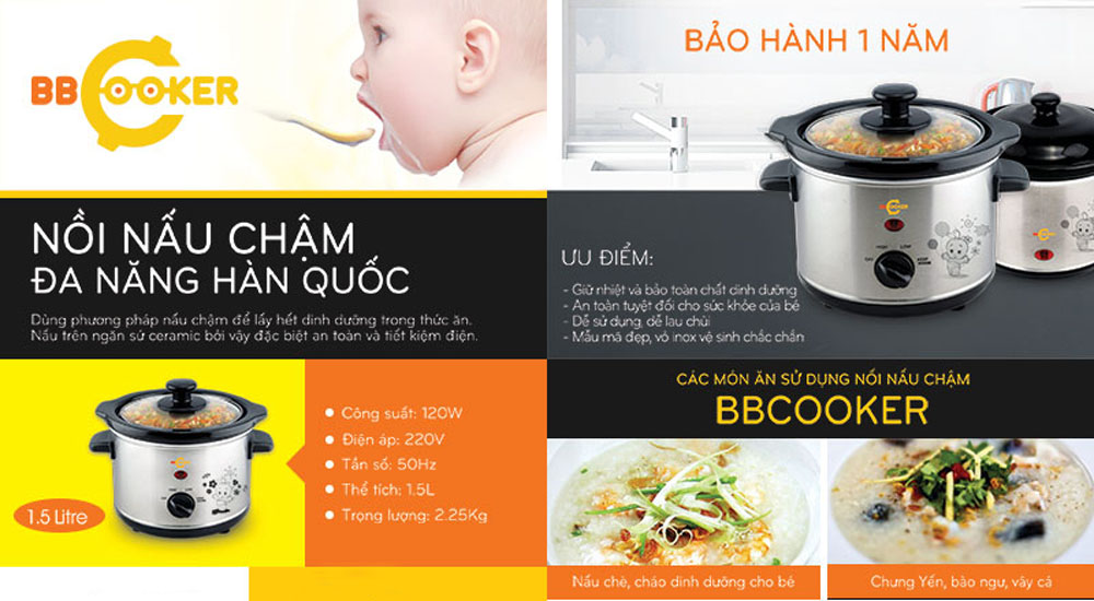 Nồi nấu cháo da năng Hàn Quốc BBCooker 1,5l cho bé nhưng món ăn ngon