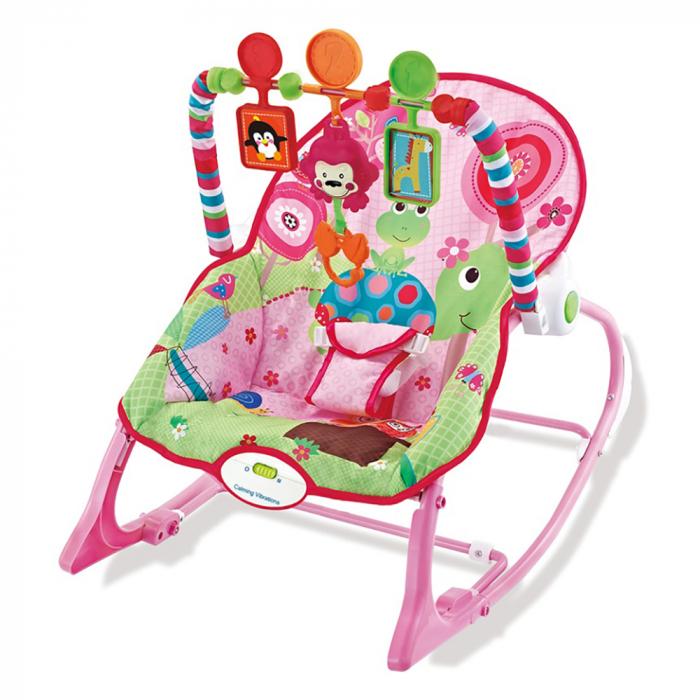 Ghế rung cho bé Kiza Happy Zoo màu hồng