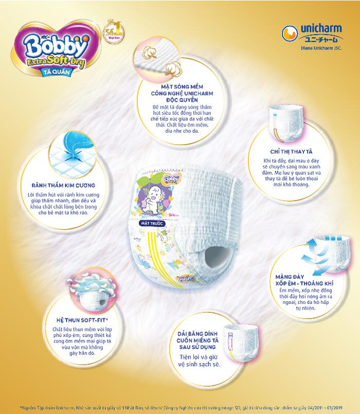 Đặc điểm chính bỉm - Tã quần Bobby Extra Soft-Dry size XXL 46 miếng (Cho bé >16kg)