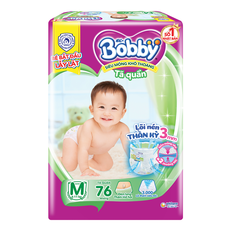 Bỉm - Tã quần Bobby Fresh size M 76 miếng (cho bé từ 6 - 10kg)