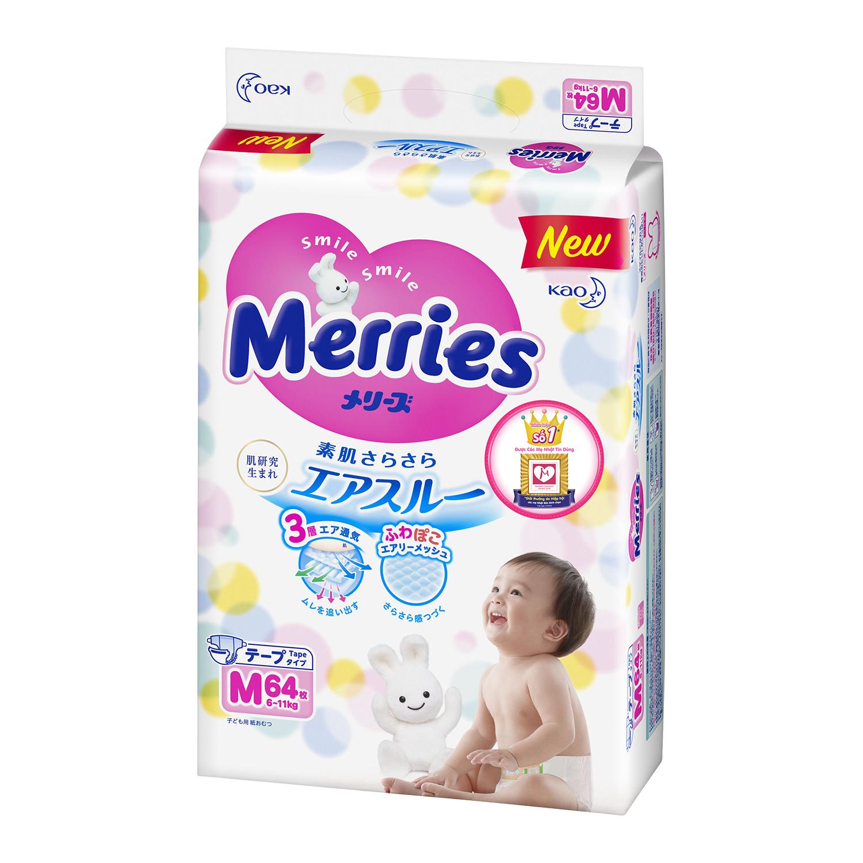 Bỉm dán Merries size M nội địa Nhật Bản 64 miếng