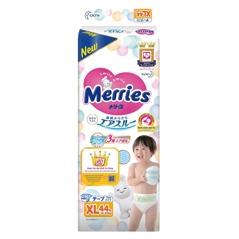 Bỉm Merries size XL dán an toàn dành cho bé