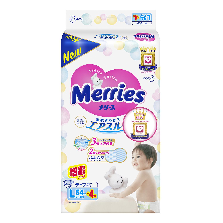 Bỉm Merries size L 54 + 4 miếng