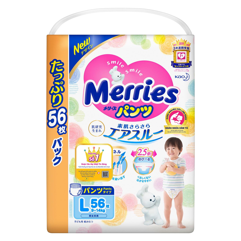 Bỉm - Tã quần Merries Ultra Jumbo size L 56 miếng (cho bé 9~14kg)