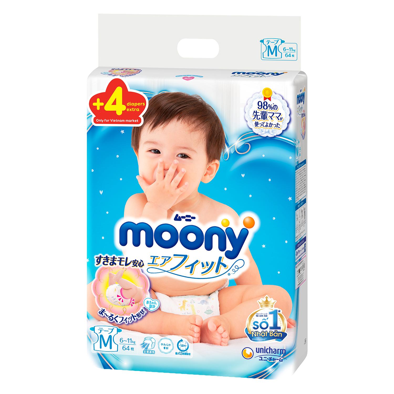 Tã dán Moony size M 64  an toàn, dễ dàng sử dụng