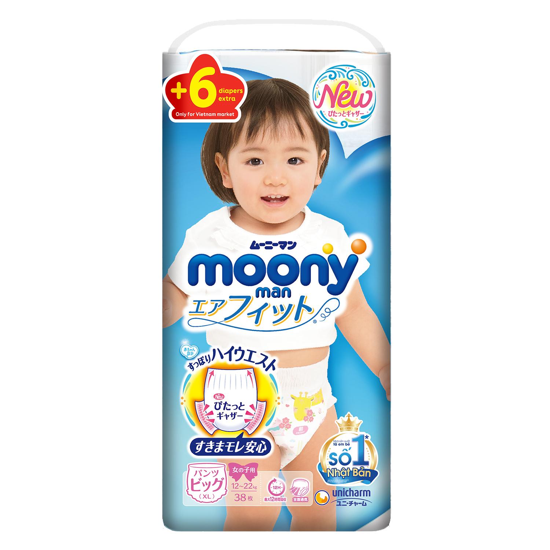 Bỉm quần Moony size XL 38 + 6 miếng cho bé gái