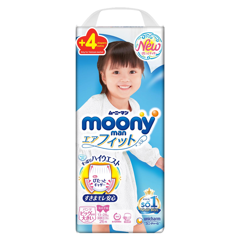 Tã quần Moony size XXL 26 + 4 miếng (13 - 28kg) dành cho bé gái
