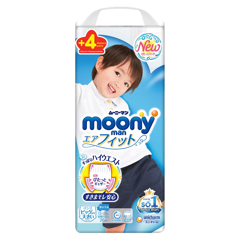 Tã quần Moony cộng miếng size XXL 26 + 4 miếng