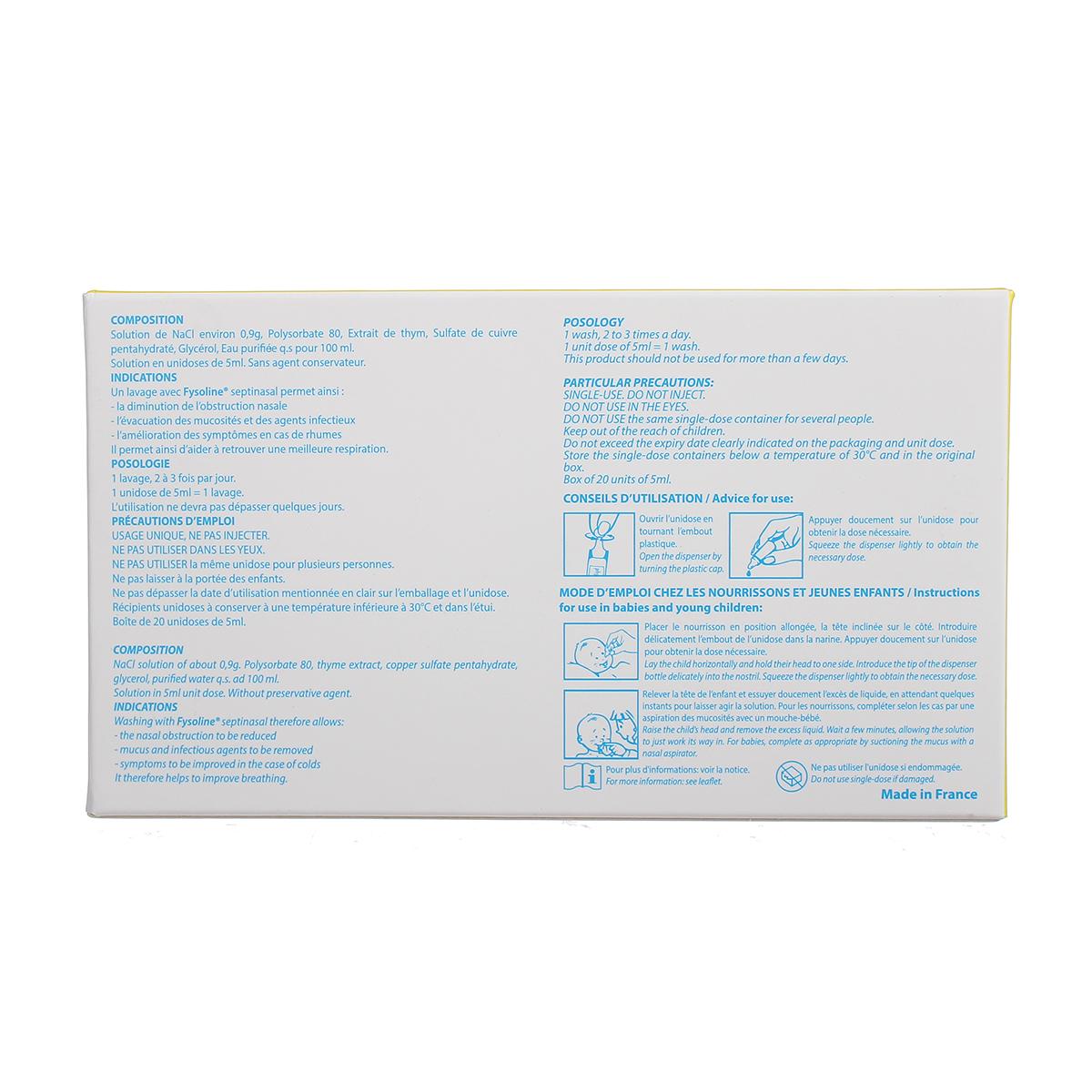 Nước muối sinh lý vệ sinh mũi đặc trị Fysoline vàng 5ml 20 ốngl