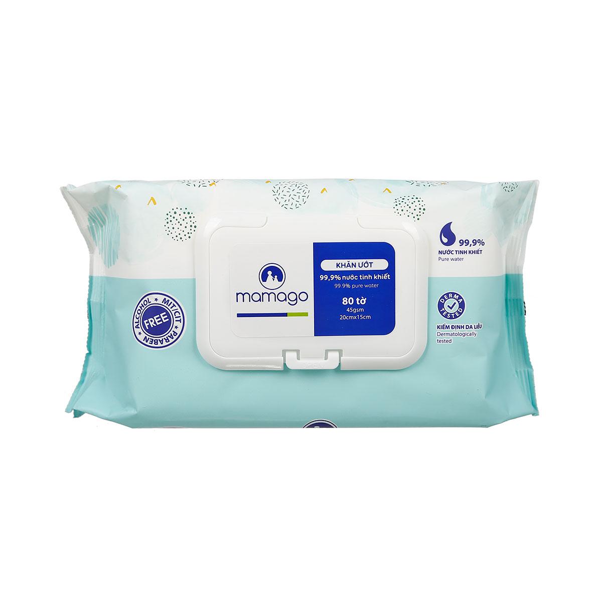 Khăn ướt tinh khiết Mamago 80pcs MMG đảm bảo tiêu chuẩn chất lượng