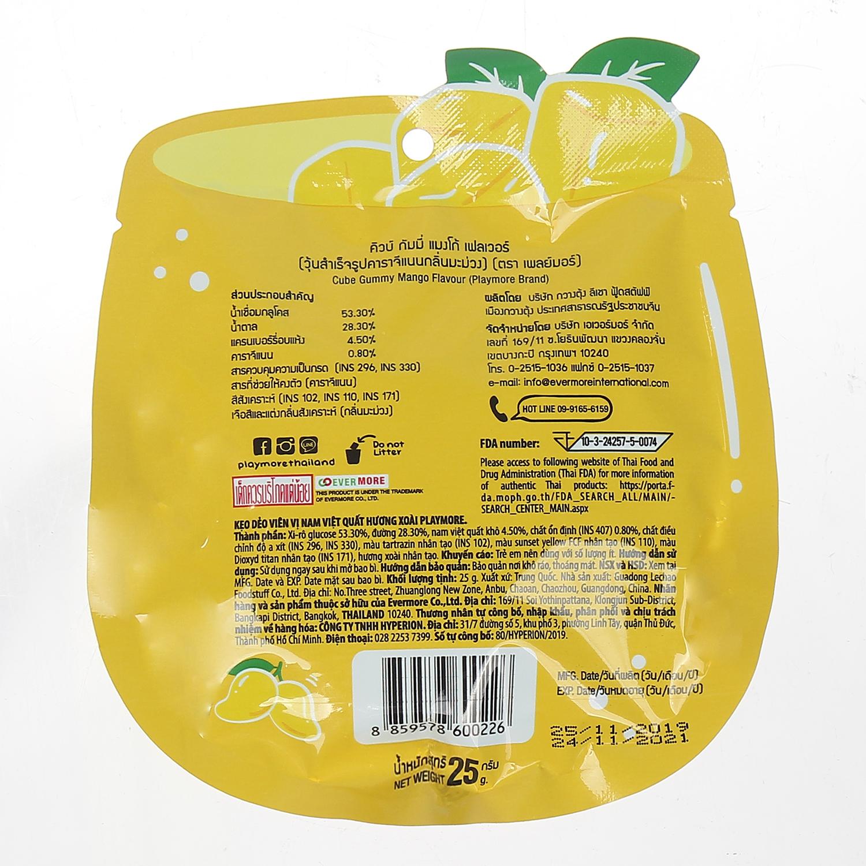 Thông tin về sản phẩm kẹo dẻo Playmore vị xoài