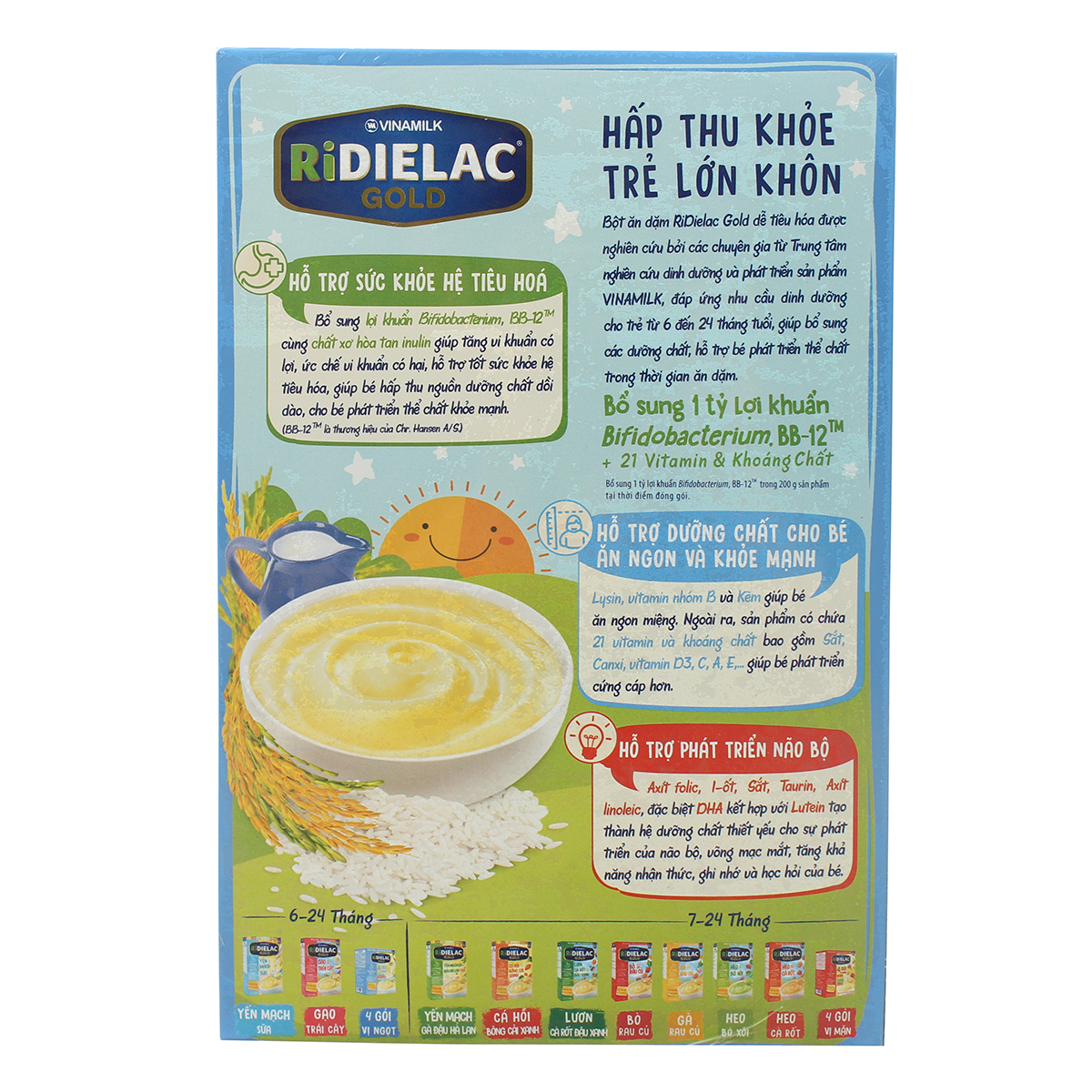Ưu điểm bột ăn dặm Ridielac Gold gạo sữa 200g