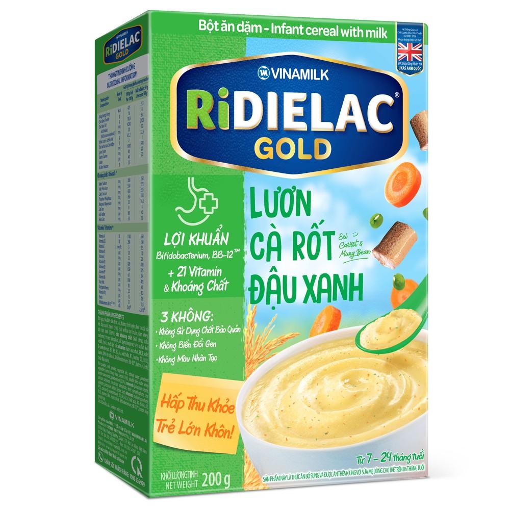 Bột ăn dặm Ridielac Gold lươn cà rốt đậu xanh 200g