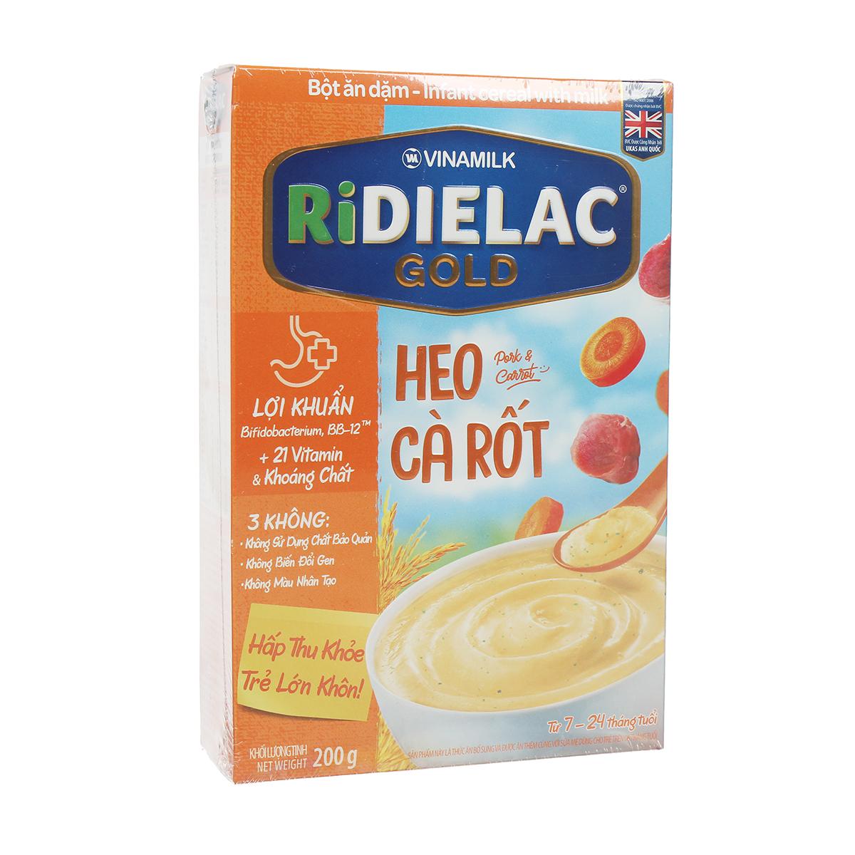 Bột ăn dặm Ridielac Gold vị heo cà rốt 200g