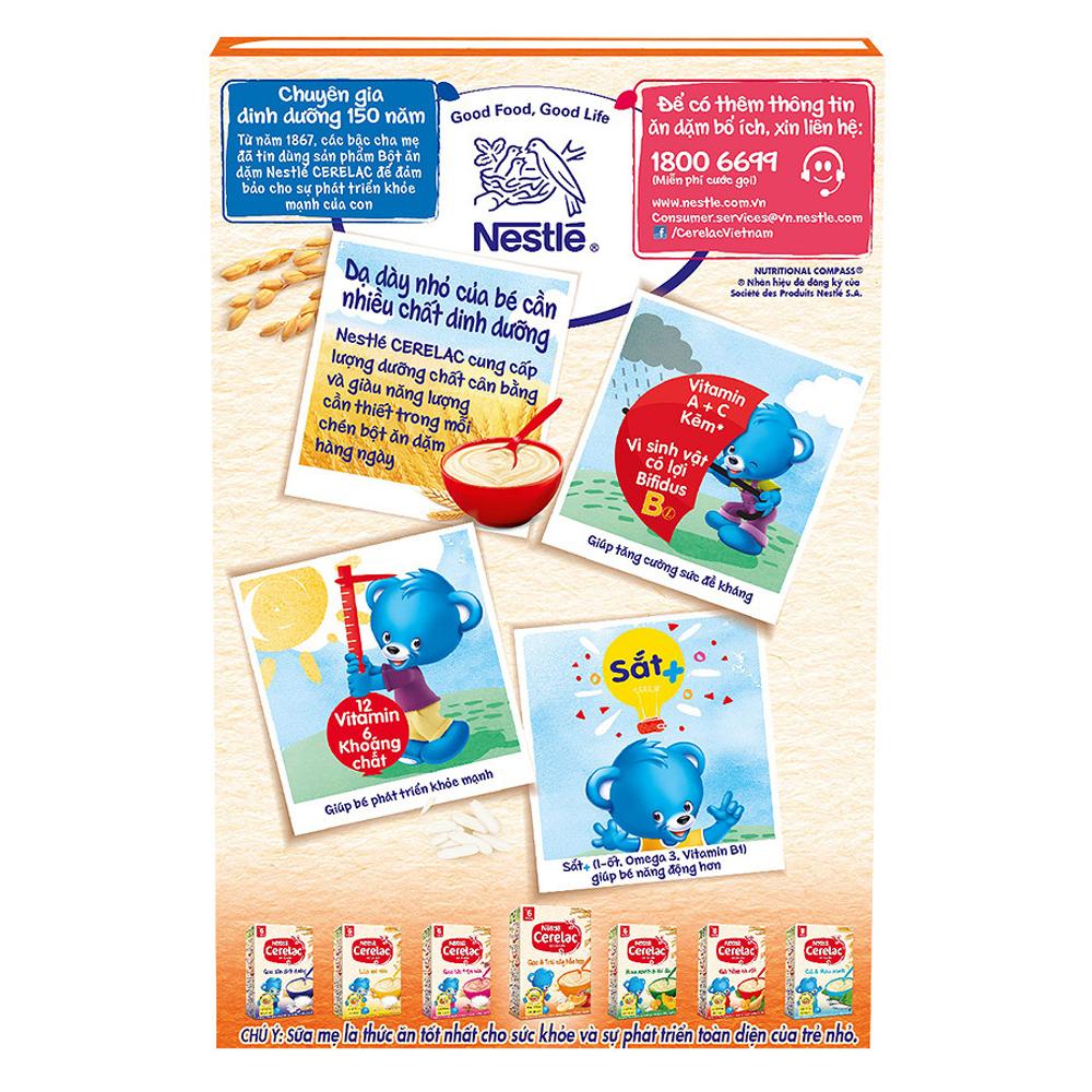 Thành phần trong bột ăn dặm Nestle Cerelac gạo và trái cây
