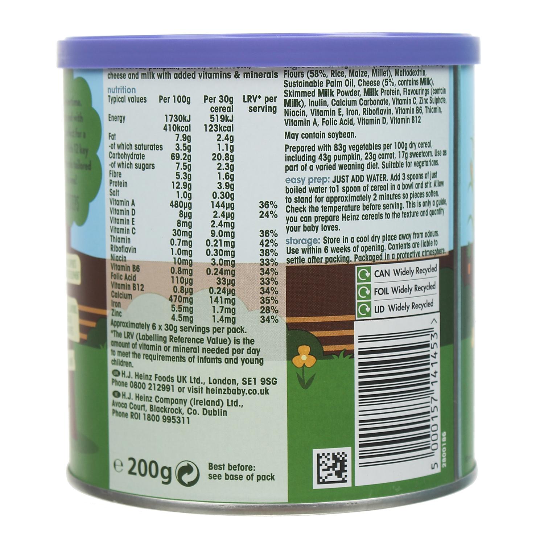 Thành phần dinh dưỡng bột ăn dặm Heinz ngũ cốc cà rốt