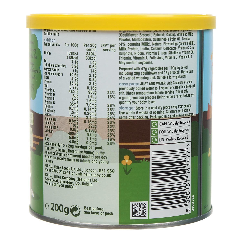 Các thành phần bột ăn dặm Heinz vị súp lơ bông cải phô mai