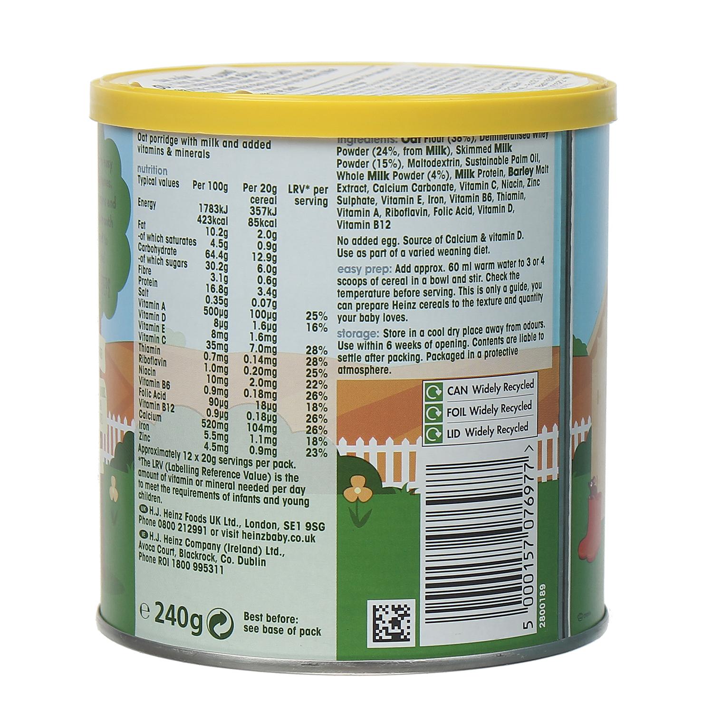 Thành phần dinh dưỡng bột ăn dặm Heinz cháo yến mạch