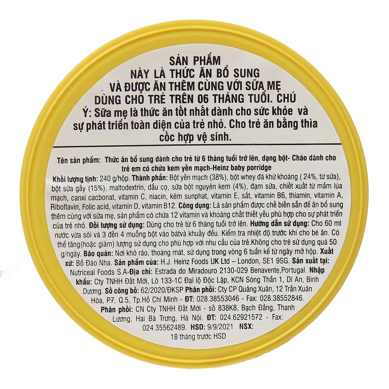 Hướng dẫn pha bột ăn dặm Heinz cháo yến mạch