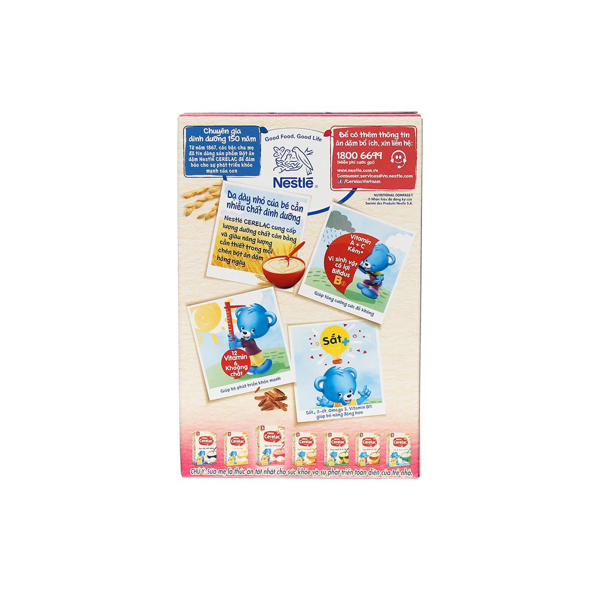 Ưu điểm bột ăn dặm Nestle Cerelac gạo lức trộn sữa