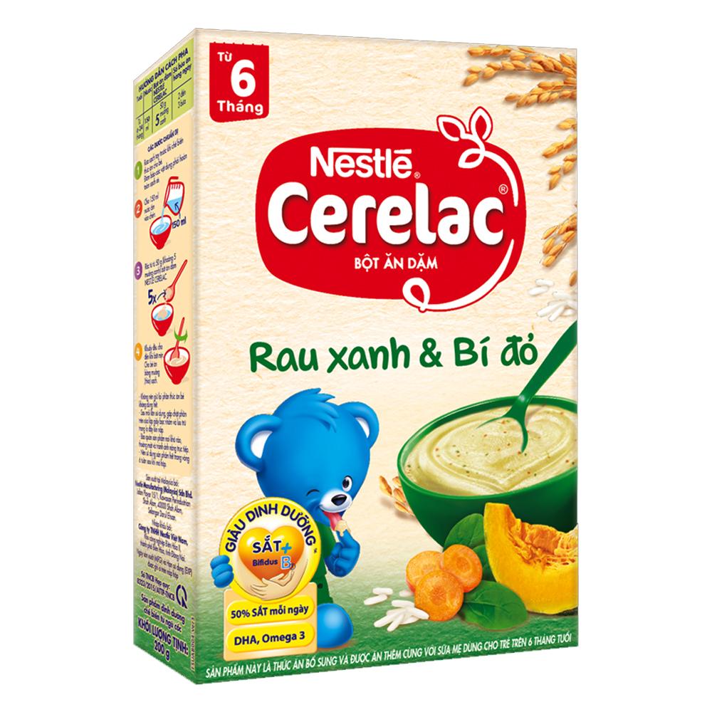 Bột ăn dặm Nestle rau xanh và bí đỏ