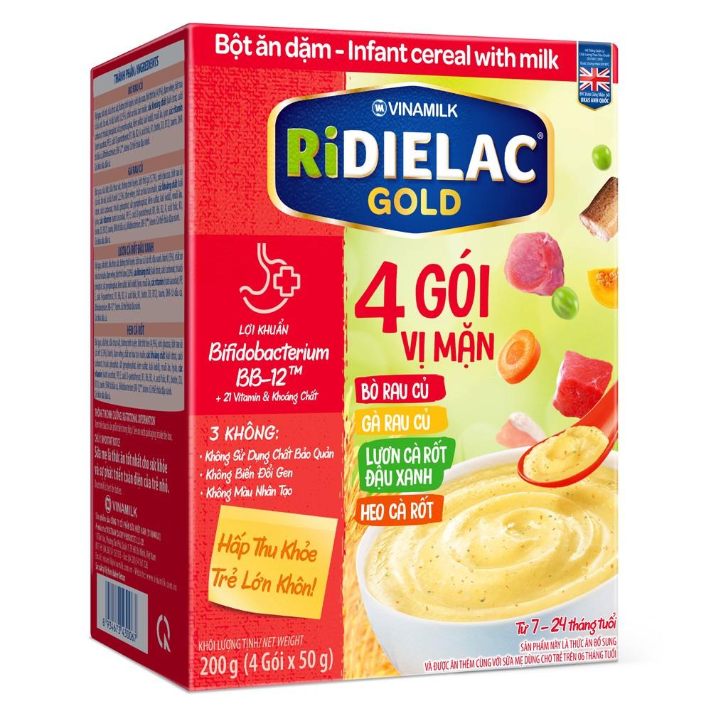 Bột ăn dặm Ridielac Gold 4 gói vị mặn 200g