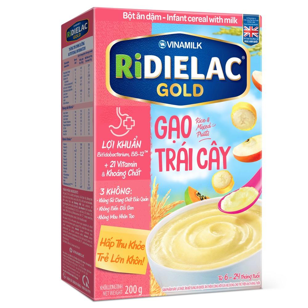 Bột ăn dặm Ridielac Gold gạo trái cây 200g