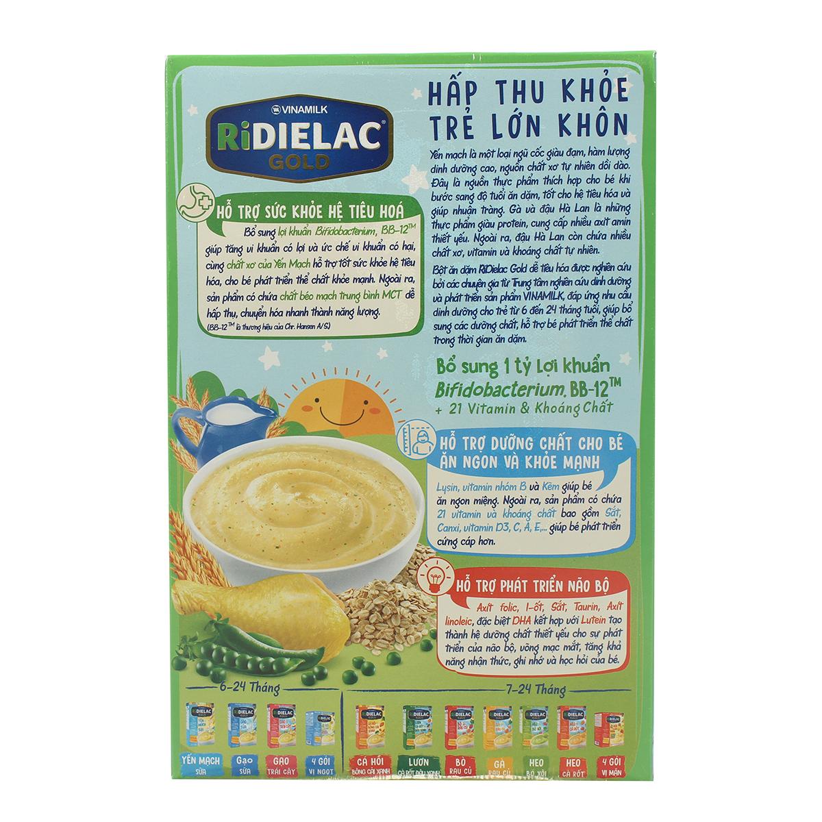 Ưu điểm bột ăn dặm Ridielac Gold yến mạch gà đậu Hà Lan