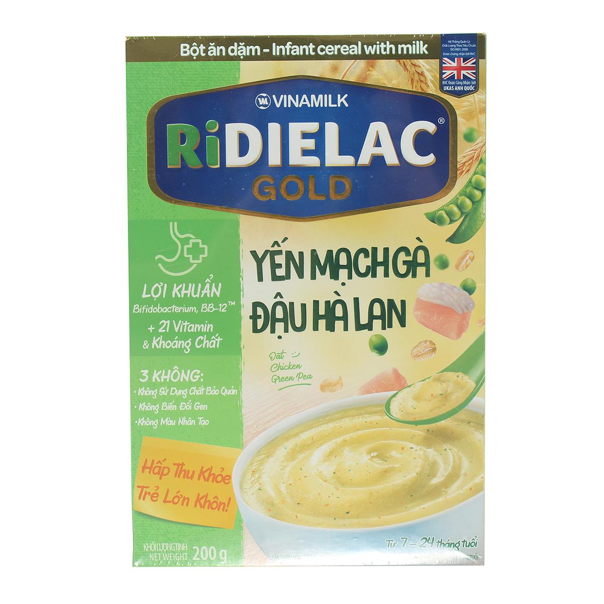 Bột ăn dặm Ridielac yến mạch gà đậu Hà Lan 200g