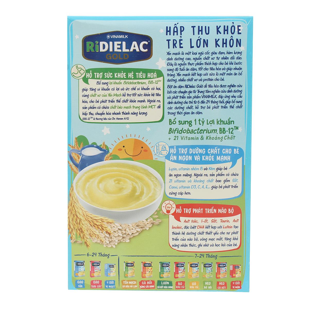 Ưu điểm bột ăn dặm Ridielac Gold yến mạch sữa