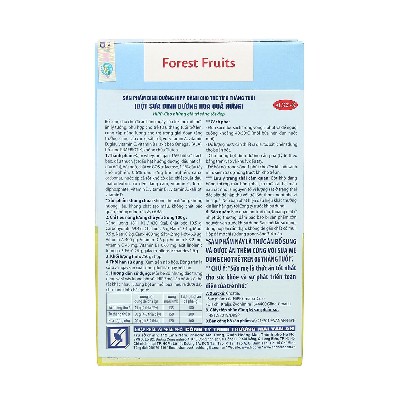 Thông tin về bột ăn dặm HiPP sữa hoa quả rừng